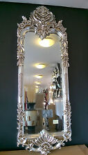 French Shabby Chic Vintage Ornate Wall Mirror 145x50cm Champagne/Antique Silver