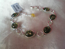 BNWT, Gemporia Baltic Green Amber bracelet, in 8.7 grams, of 925 Sterling Silver