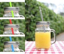Trinkgläser mit Deckel und Strohhalm Glas Terrasse 4er Set 450 ml Balkon Gläser