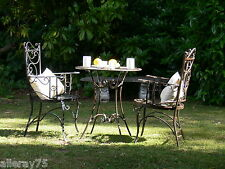 FRENCH GARDEN balcony SET BREAKFAST TABLE +2 CHAIRS WROUGHT IRON OUTDOOR QUALITY