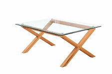 LPD Cadiz Solid Oak Rectangle Coffee Table with Bevelled Edge Glass