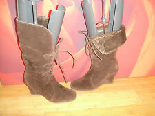 SUPERB KALIKO  BROWN SUEDE LEATHER WEDGE BOOTS  UK 5  *71*