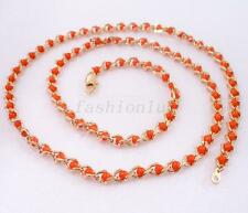 "fashion1uk 18K Yellow Gold Plated Special 60cm 22"" Red Bead Necklace"