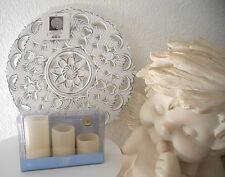 Wand Bild Deko Ornament Dekoteller Holz Tafel Shabby 40 cm + 3 x LED Kerzen Set