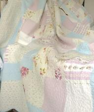 Queen Bed Shabby Pastel Farm House Chic Multi Pink Patchwork Quilt Bedspread Set
