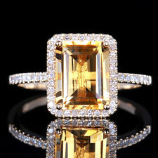 2.4ct Natural Citrine Emerald Shape 9x7mm Solid 10K Yellow Gold Fine Ring