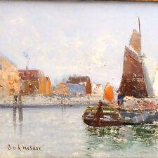 Antikes Gemälde J.V.D. Helder Holland Maler Ölgemälde Segelboote Impessionismus