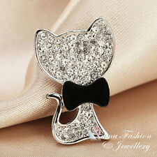 18K White Gold Plated AAA Grade Cubic Zirconia Very Cute Cat Brooch