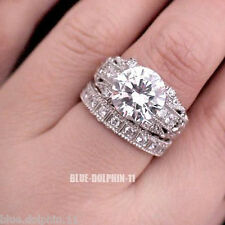Real Genuine Solid 9K White Gold Engagement Wedding Rings Set Simulated Diamond