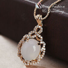 18K Rose Gold Plated Semi-Precious Stone Oval Cut Necklace Fashion Jewellery