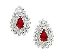 Red clip on earrings diamante sparkly teardrop rhinestone prom party bridal 0344