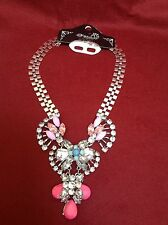 Chunky Coloured Pink Flower Bib Necklace With Diamonte / Diamanté Detail - New!