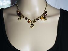 Necklace Choker Gold Tone Chain & Seahorse Crystal & Pearl Beads Surf Beach