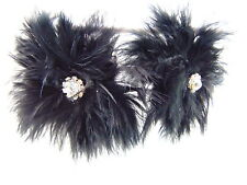 Modeschmuck Ohrringe Versilbert mit  Strass und  schwarz Feder, von Catia Levy