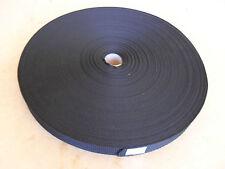 POLYPROPOLENE WEBBING BLACK 50 MTR ROLL 25MM 1 INCH WIDE