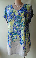 New Autograph blue wisteria print tunic top plus size 14 NWT short sleeve