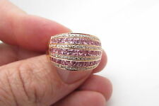 14kt LEVIAN 2.00ct PINK SAPPHIRE & DIAMOND WIDE ROSE GOLD RING