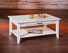 Tisch Couchtisch Beistelltisch Weiß Massivholz Schublade Metallgriffe NEU