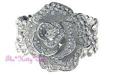 Vintage Deco 3D Rose Flower Floral Wide Silver Cuff Bracelet w Swarovski Crystal