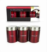 NEW STAINLESS STEEL TEA COFFEE SUGAR JARS TINS CANISTER SET STORAGE METALLIC RED