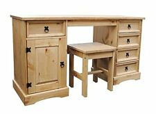 Corona 5 Drawer Dressing Table Computer Desk With Stool Solid Pine