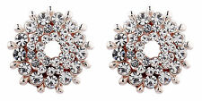 CLIP ON EARRINGS - rose gold stud earring with cubic zirconia crystals - Edna