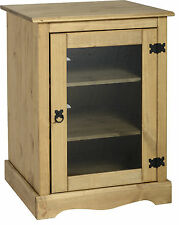 CORONA HI FI GLASS UNIT STAND IN DISTRESSED WAX PINE - FREE NEXT DAY DELIVERY