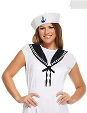 ladies fancy dress sailors outfit doughboy hat plus collar costume nautical set