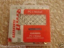 "SRAM PC1 NICKEL BMX or Fixie Single Speed Track Bike Chain 1/8"" NICKEL"