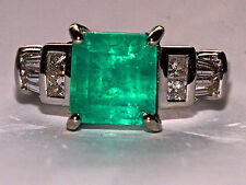 Exceptional  2.40ct Natural Colombian Emerald and Full Cut Natural Diamond Ring