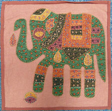 """Indian Patchwork Elephant Cushion Cover 16"""" x 16"""" - Stonewash Red"""