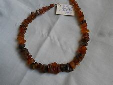 """RARE VINTAGE,1990 NEW OLD STOCK, LATVIAN NECKLACE, RAW AMBER 16.5"""", HAND MADE"""