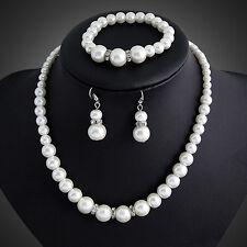 Proper Girl Faux Pearls Necklace Bracelet Earrings Wedding Jewelry Set
