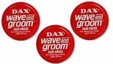 3 X Dax Wax Red Wave and Groom For Maximum hold, light shine 99g Tin
