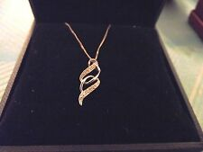 """9 ct. White Gold and Diamond Pendant Necklace - approx 20"""" chain - Brand new"""