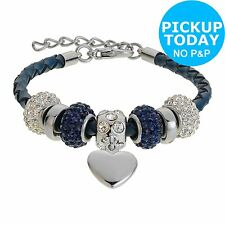 Made Up Leather and Dark Blue Crystal Bead Bracelet -From the Argos Shop on ebay