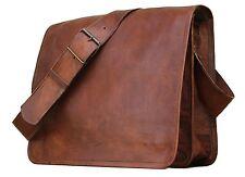 """15"""" Mens Brown messenger leather bag satchel crossbody laptop bag briefcase"""