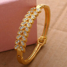 New Women Charm Gold Filled Bangle Diamante Cuff Bracelet Style Jewelry For Gift