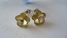 SOLID STERLING SILVER 925 STUD  EARRINGS GENUINE SWAROVSKI FLOWER CRYSTAL LIME