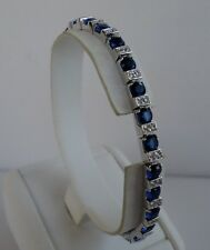 925 STERLING SILVER BRACELET TENNIS  / LENGTH 7.5 INCHES / TANZANITE W/ ACCENTS