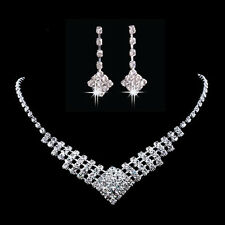 Unique Wedding Party Jewelry Set Bling Crystal Rhinestone Necklace and Earrings