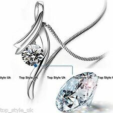 Crystal Diamond Silver Necklace Xmas Girlfriend Women Gifts for Her Wife Mum 11B