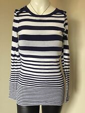 Witchery 100% Cotton Blue White Pinstripe Nautical Knit Long Sleeve Jumper Small