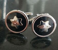 Silver star and black enamel DESIGNER CUFFLINKS Free P&P gift bag included