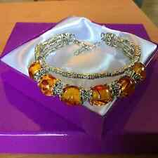 CB03 Adjustable Tibetan silver bracelet, amber beads, FREE GIFT BOX, Plum UK