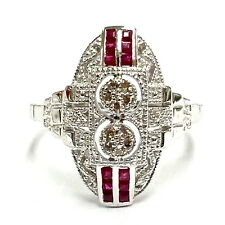 ART DECO STYLE DIAMOND AND RUBY RING 925 STERLING SILVER  SIZE - 7