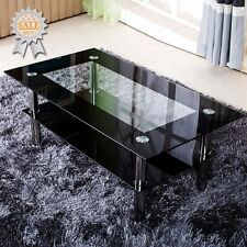 Black Rectangle Coffee Table With Tempered Glass Top And Chrome Legs Living Room