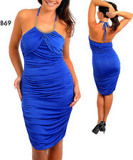 B69 Ladies Blue Size 14/16 Cocktail Evening Halter Ruched Chic Party Dress Plus