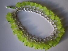 Lime Green Lucite Flower Charm Bracelet - Silver Plated
