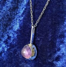 925 Sterling Silver Cabochon Amethyst Pendant & Chain Link Necklace